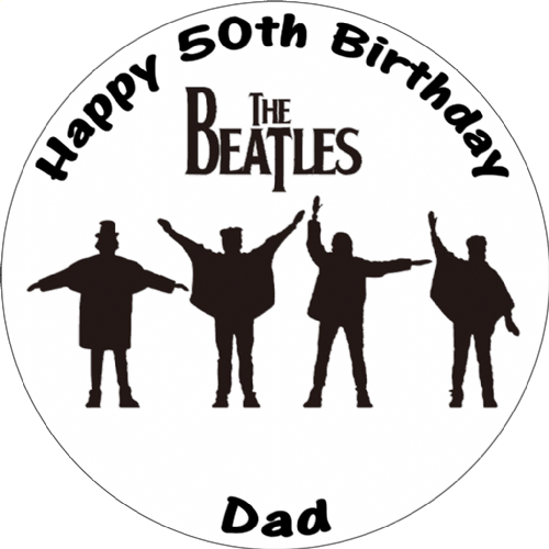 THE BEATLES HELP BLACK & WHITE ROUND CAKE TOPPER